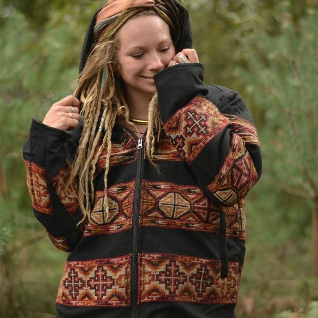 jacke-hippie-tribal-gypsy-style-kapuze-schwarz