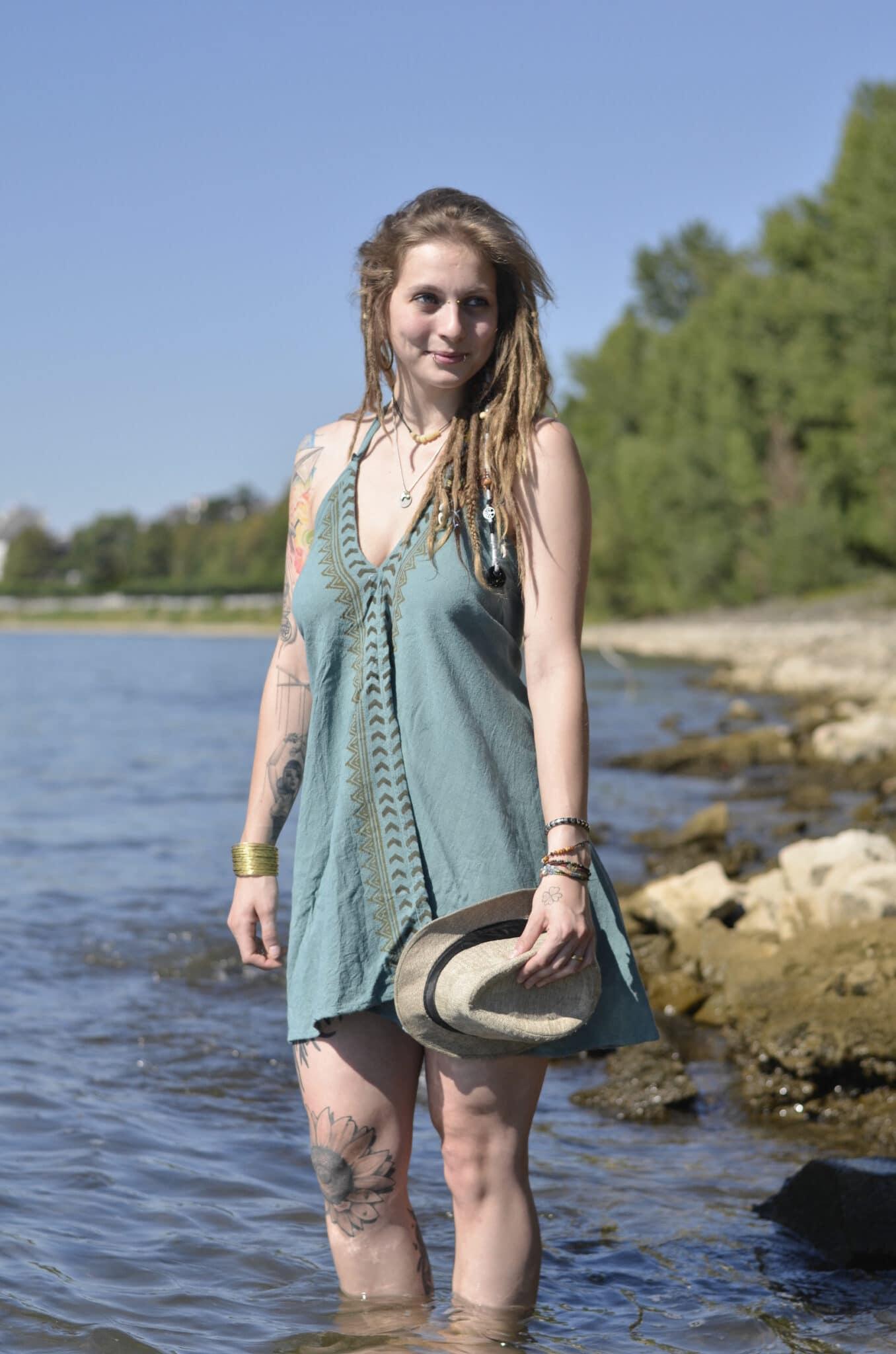 "Leinen Kleid/Tunika ""Divine"" -blockprint- ocean - Nomadic ..."