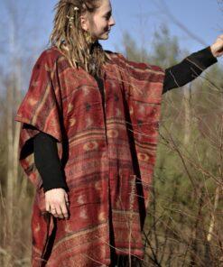poncho-ethno-hippie-gemustert-rot